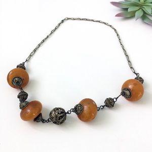 Jewelry - Vtg Antique Orange Lantern Bead Tibetan Necklace